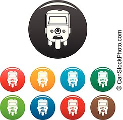 Rickshaw icons set color