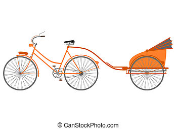 Rickshaw. - Silhouette of classic bike with a trailer on a...