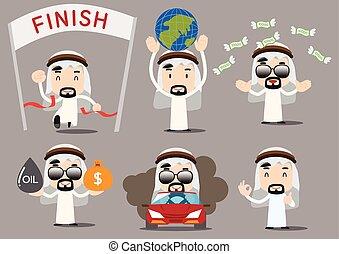 rico, árabe, hombre de negocios