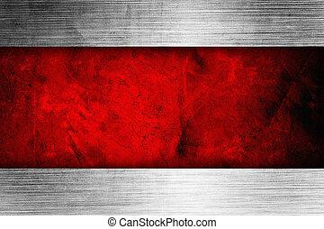 rico, cinta, fondo rojo, plata