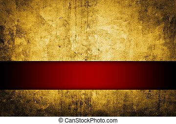 rico, cinta, oro, plano de fondo, rojo