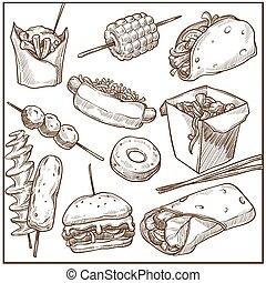 rico, delicioso, comida rápida, platos, grande, monocromo,...