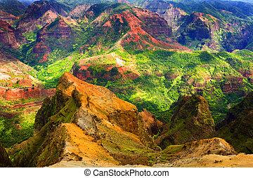 rico, hawai, colorido, acantilado