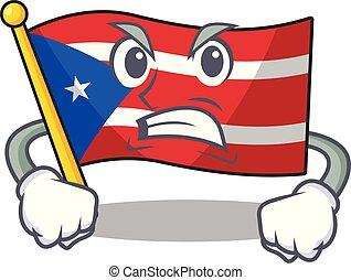 rico, puerto, rysunek, gniewny, bandera