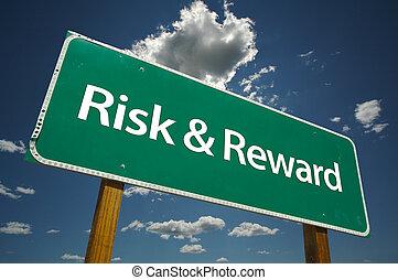 &, ricompensa, rischio, segno strada
