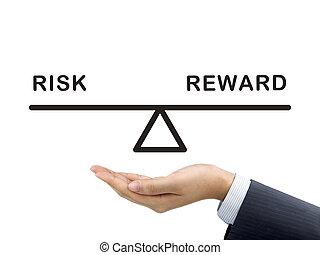ricompensa, rischio, uomo affari, titolo portafoglio mano,...