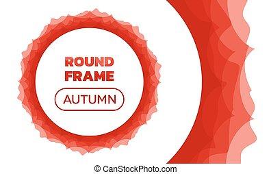 ricoprire, cornice, -, autunno, onde, rotondo
