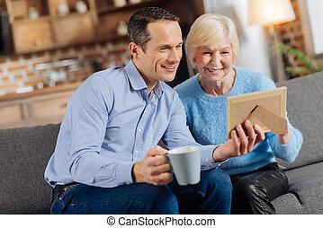 ricordare, allegro, suo, anziano, figlio, passato, madre