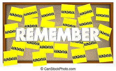 ricordare, note, elenco, appiccicoso, importante, promemoria, riunione