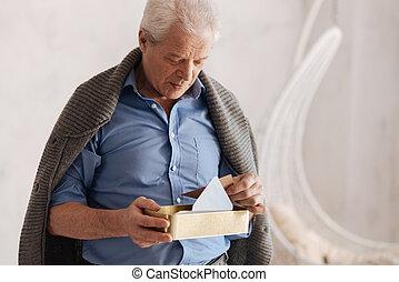 ricordare, suo, passato, pensieroso, invecchiato, uomo