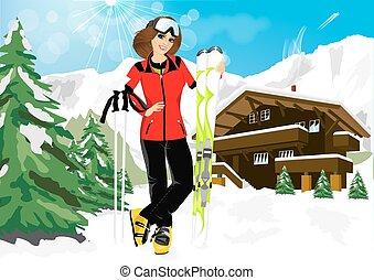 ricorso, montagna, donna, sciatore, carino