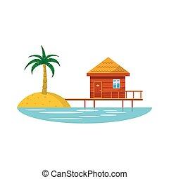 ricorso, stile, albergo, cartone animato, icona