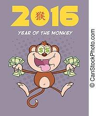 ricos, caricatura, macaco, personagem