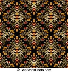 ricos, damask., ornamento, floral