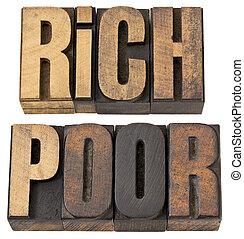 ricos, e, pobre, palavras, em, madeira, tipo