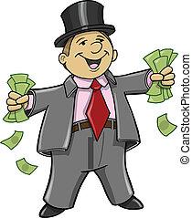 ricos, homem negócio, com, dinheiro