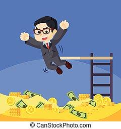 ricos, homem, negócio, moeda, piscina