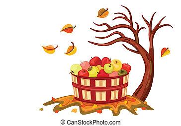 ricos, maçã, colheita, em, outono