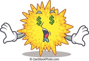 ricos, personagem, mycoplasma, dinheiro, caricatura, olhos, desenho