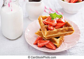 Ricotta waffles with strawberry - Ricotta waffles served...