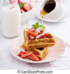 Ricotta waffles with strawberry - Ricotta waffles served ...