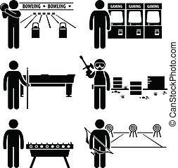 ricreativo, giochi, ozio, clipart