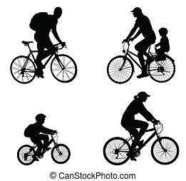 ricreativo, silhouette, ciclisti
