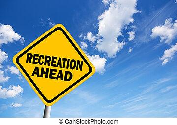 ricreazione, avanti, segno