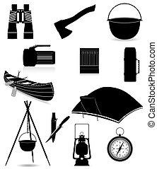 ricreazione, esterno, silhouette, icone, articoli, isolato, ...