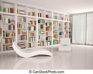 ricreazione, moderno, illustrazione, biblioteca,...