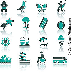 ricreazione, set, turismo, vacanza, &