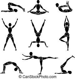 ricreazione, silhouette, ginnastica, yoga, modello, uomo