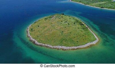 Ricul islet aerial - Aerial view of the Adriatic coastline...