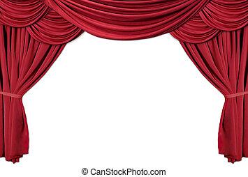 ridåer, teater, serie, draperat, 2, röd
