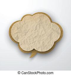 ridé, cloud., papier, vieux