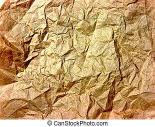 ridé, doré, papier, texture