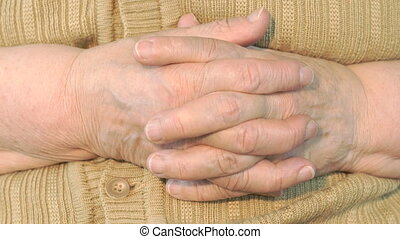 ridé, femme, mains vieilles