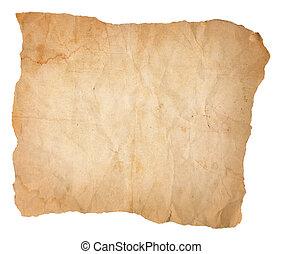 ridé, papier, bords, vieux, taché, déchiré, plissé
