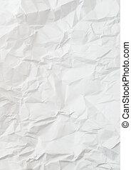 ridé, plissé, papier chiffonné, blanc