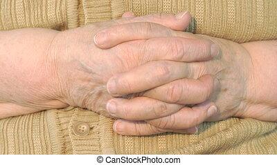 ridé, vieux, peau, main, femme
