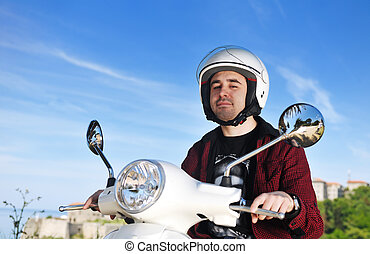 rida, sparkcykel, retro, man, ung