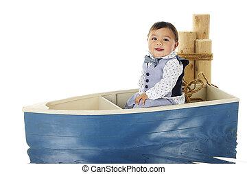 ridande, båt, baby