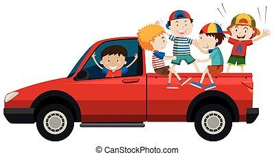 ridande, barn, lastbil, uppe, hacka