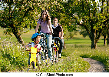 ridande, bicycles, familj, sommar