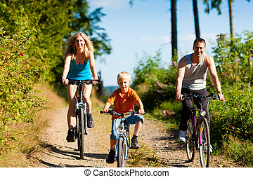 ridande, bicycles, sport, familj