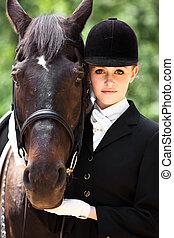 ridande, flicka, hästryggen