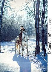 ridande, Häst, kvinna, ung