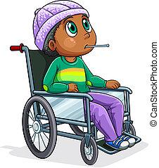 ridande, rullstol, bemanna, svarting