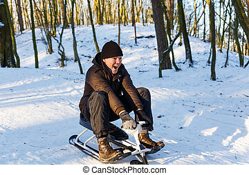 ridande, sparkcykel, man, ung, snö
