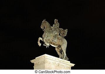 ridande staty, av, kung, karl, iv, fasadbeklädnad, den, kunglig palats, in, madrid